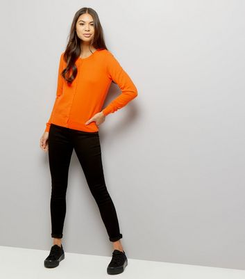 Bright Orange Crew Neck Cardigan New Look