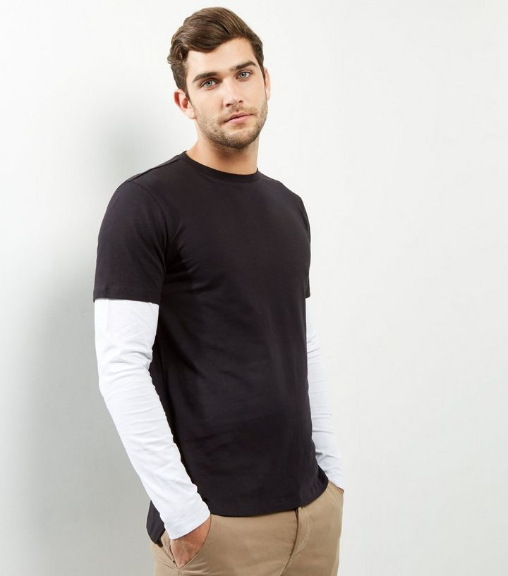 4e2e50add3 Black Layered Long Sleeve T-Shirt Add to Saved Items Remove from Saved Items