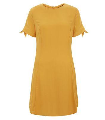 Yellow Tie Sleeve Dress New Look