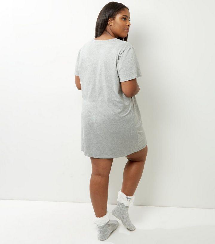 88354cc5b0 Curves Grey Slogan Cactus Print Night Dress
