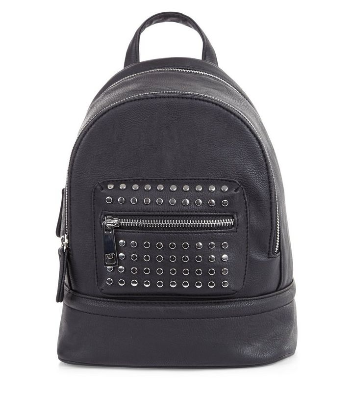 8b75bbdc28c Black Leather-Look Studded Mini Backpack Add to Saved Items Remove from  Saved Items