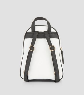 White Zip Trim Mini Curved Backpack New Look