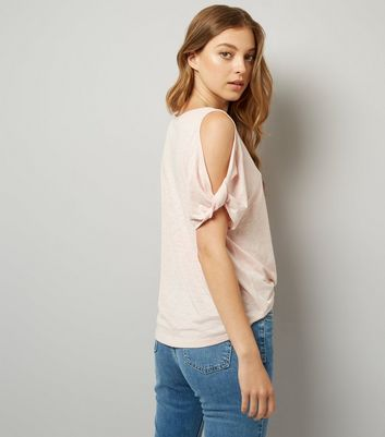 Pink Twist Sleeve Cold Shoulder T-Shirt New Look