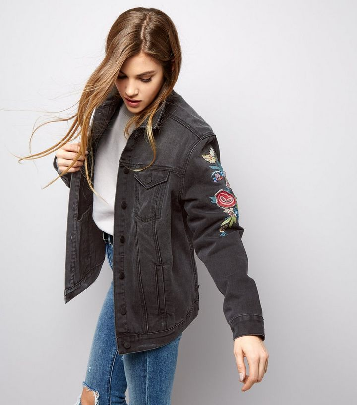 select for latest clients first top-rated quality Black Bird Embroidered Denim Jacket Add to Saved Items Remove from Saved  Items