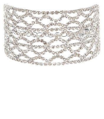 Silver Filigree Diamante Bracelet New Look