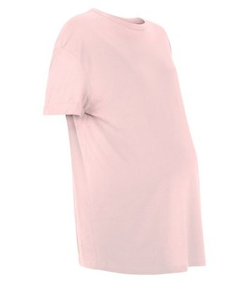 Maternity Pink Rolled Sleeve Oversized T-shirt New Look