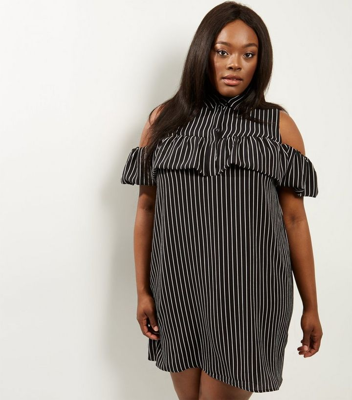 815200c08 Curves Black Stripe Cold Shoulder Dress