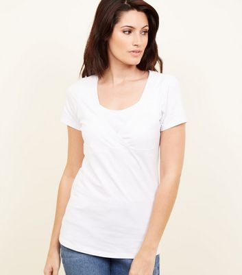 Maternity White Nursing T-shirt