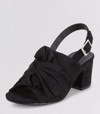 Teens Black Suedette Bow Front Sling Back Heels New Look
