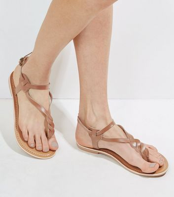 Tan Leather Twist Strap Toe Post Sandals New Look