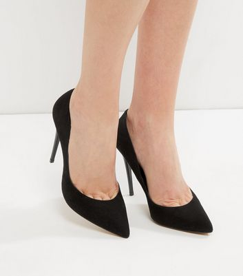 Black Suede Pointed Court Shoes | New Look
