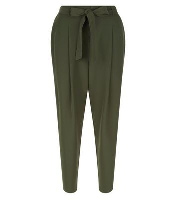 Dark Green Tie Wiast Trousers New Look