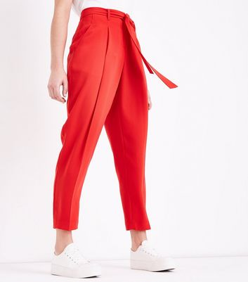 Red Tie Waist Trousers New Look