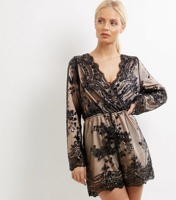 bd38e97430 Parisian Black Sequin Wrap Front Playsuit