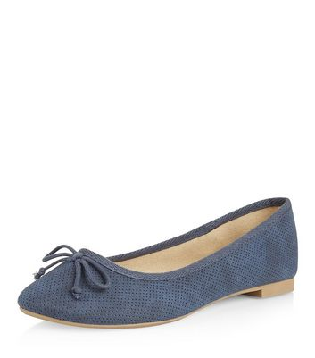 Light Blue Suedette Bow Front Ballet Pumps New Look