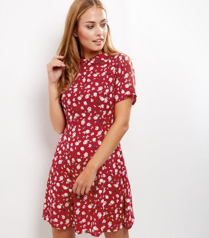 731994fd75e6a Red Ditsy Floral Print Skater Dress Add to Saved Items Remove from Saved  Items