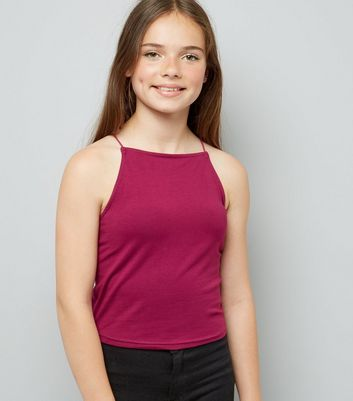 Teens Purple High Neck Cami New Look