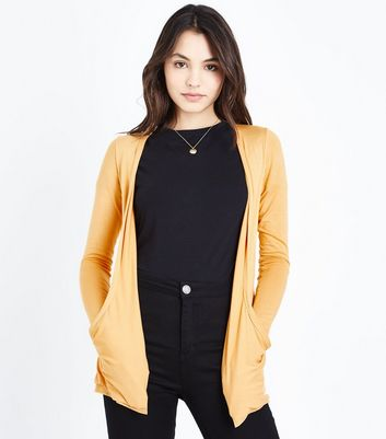 Mustard Double Pocket Cardigan New Look