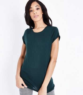 Tall Dark Green Roll Sleeve T-shirt New Look