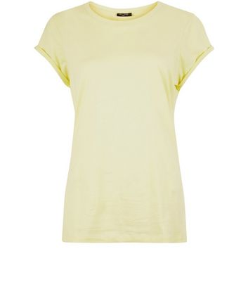 Tall Yellow Rolled Sleeve T-Shirt New Look