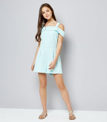Teens Mint Green Cold Shoulder Playsuit New Look
