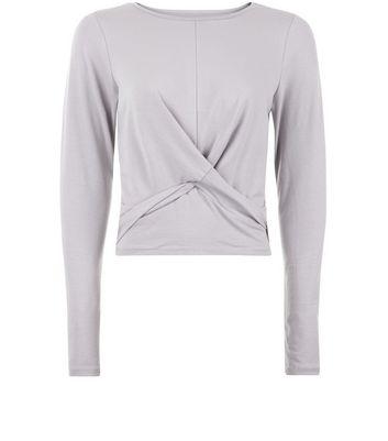 Pale Grey Twist Front Long Sleeve Top New Look