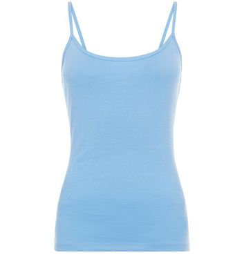 Blue Shoestring Strap Cami Top New Look