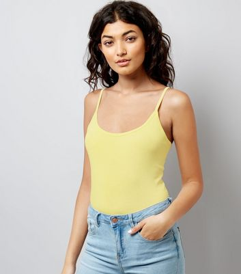 Pale Yellow Shoestring Strap Cami Top New Look