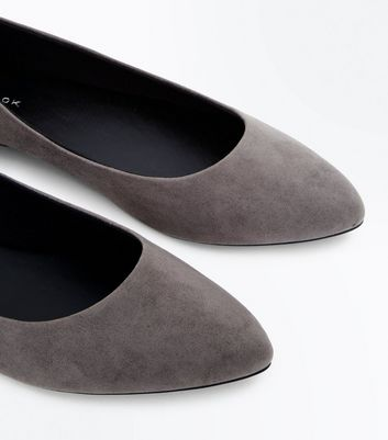 Grey Suedette Metal Trim Pointed Pumps New Look