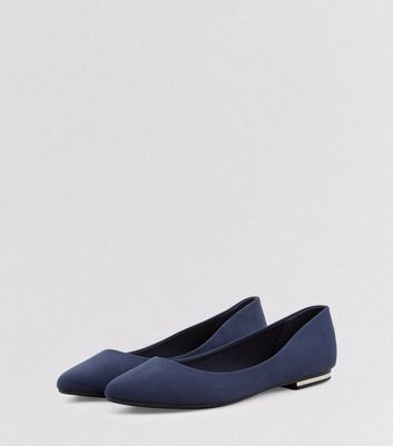 Navy Blue Suedette Metal Trim Pointed Pumps New Look