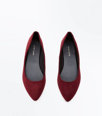 Burgundy Suedette Metal Trim Pointed Pumps New Look