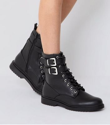 Black Lace Up Buckle Strap Boots   New Look