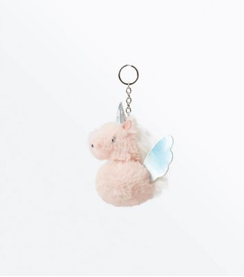 Pink Faux Fur Unicorn Pom Pom Keyring New Look