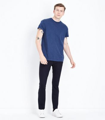 Navy Cotton Rolled Sleeve T-Shirt New Look