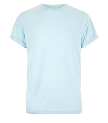 Pale Blue Cotton Rolled Sleeve T-Shirt New Look