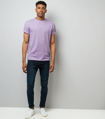 Purple Cotton Rolled Sleeve T-Shirt New Look