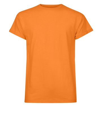 Orange Cotton Rolled Sleeve T-Shirt New Look