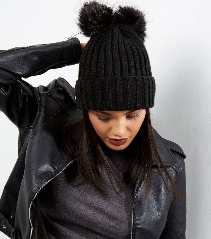 Black Ribbed Faux Fur Pom Pom Beanie  2460979e7fc