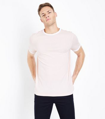 Pink Contrast Trim T-Shirt New Look