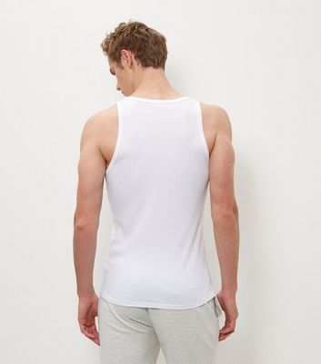 White Muscle Fit Ribbed Vest New Look