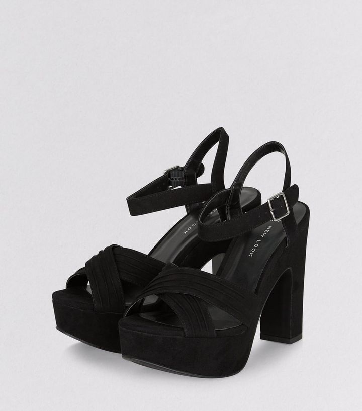 64b60c40e ... Wide Fit Black Suedette Cross Front Platform Sandals. ×. ×. ×. VIDEO  Shop the look