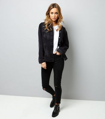Black Oversized Denim Jacket New Look