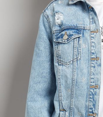 Pale Blue Oversized Denim Jacket New Look