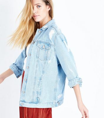 Pale Blue Oversized Distressed Denim Jacket New Look