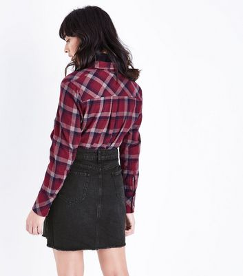 Black Fringed Hem Denim Skirt New Look
