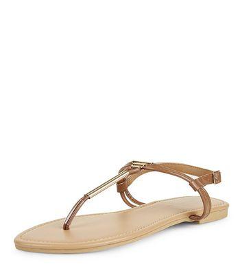 Wide Fit Tan Toe Post Metal Bar Sandals