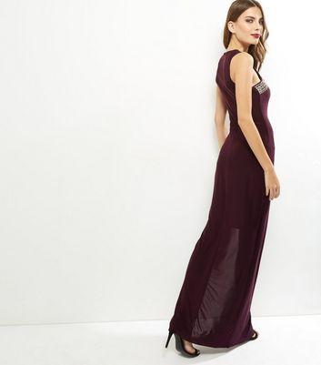 AX Paris Dark Purple Embellished Maxi Dress New Look