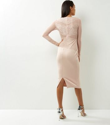 AX Paris Shell Pink Lace Long Sleeve Midi Dress New Look