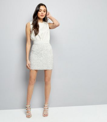 AX Paris White Sequin Skirt 2 in 1 Dress New Look