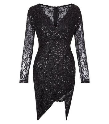 AX Paris Black Plunge V Neck Sequin Dress New Look